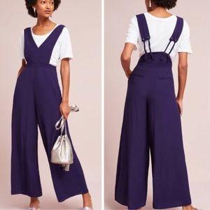 Anthropologie Maeve purple apron overalls jumpsuit